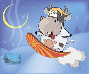 Snowboarding cow cartoon
