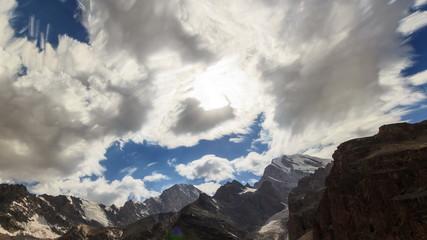Morning light in the mountains. TimeLapse, Pamir, Tajikistan. 4K