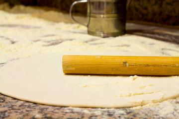 Close-up of dough preparation