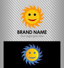 Shining yellow sun cartoon logo sign