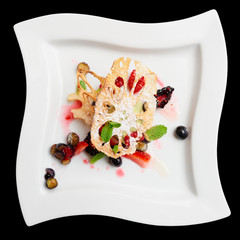 Asian fruit dessert with lotus root and berries, isolated