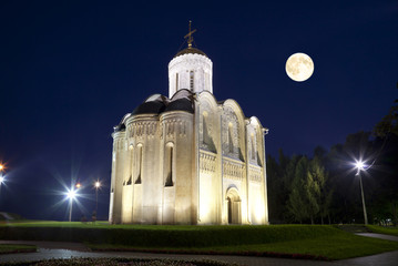 Dmitrovsky Cathedral in Vladimir moonlit night. Russia