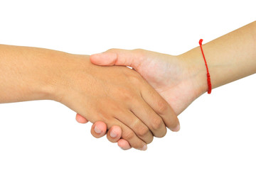 two persons shaking hands on white background