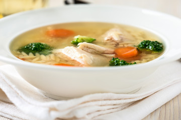 Chicken soup with vegetables and orzo