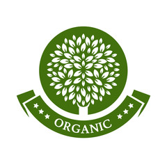 Green circle tree, vector logo design template. Organic product