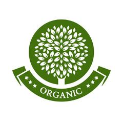 Green circle tree, vector logo design template. Organic product