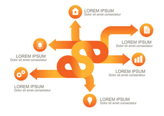 Infographic orange arrows with round icons, vector background te