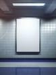 white blank billboard poster indoor - 74172241