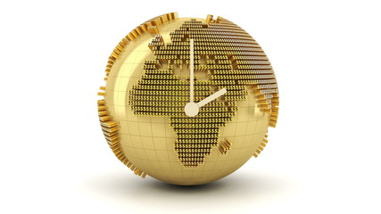 3d animation of clock with golden globe formed by dollar signs