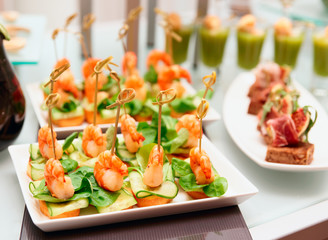 Shrimp appetizers on banquet table