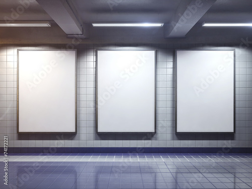 white blank billboard poster indoor - 74172221