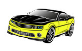 muscle american car yellow