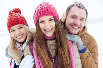 Cheerful people in winter