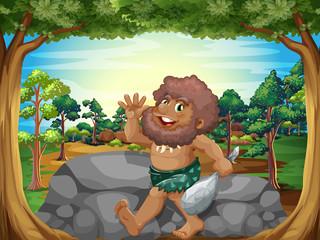 A caveman at the jungle