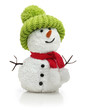 Snowman in green hat and red scarf - 74173487