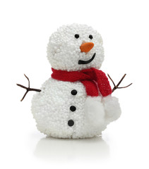 Snowman in red scarf