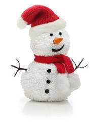 Snowman in Santa Claus xmas red hat