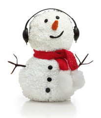 Snowman in earphones and red scarf