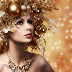Christmas Fashion Girl with Decorated Hairstyle. Portrait