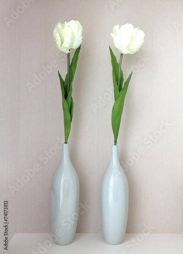 White Artificial tulips in a vase - 74173813