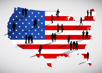 Silhouettes Of Business People Standing On An American Flag Them