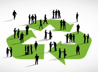 Business People And The Recycling Symbol