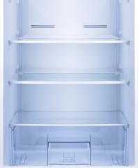 Empty open fridge.