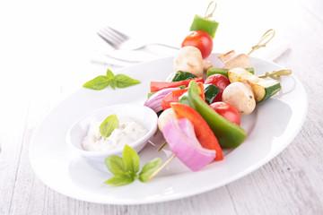 vegetables kebab and dip