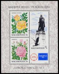 Stamp printed in Hungary honoring AMERIPEX '86