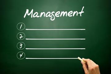 Hand drawn MANAGEMENT blank list concept on blackboard