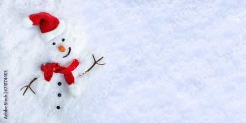 Snowman on snow - 74174403
