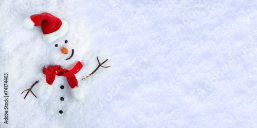 Leinwandbild Motiv Snowman on snow