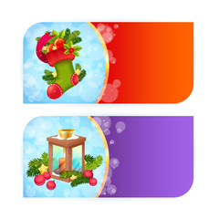 Christmas banners with woolen stocking and candle lantern