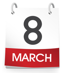 Vector Of A Calender Of The Date March 8th
