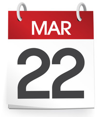 Vector Of A Calender Of The Date March 22nd