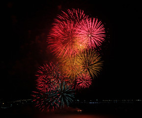 Close-up of a multi-colored fireworks display