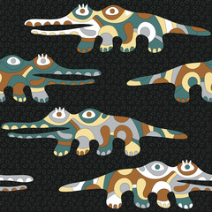 Seamless background with psychedelic crocodiles