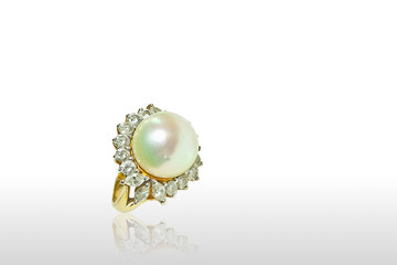 Pearl ring isolated on white