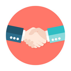 Two Businessmen Shaking Hands Flat Circle Icon