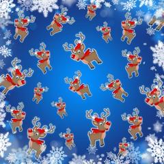 xmas reindeers blue cute background