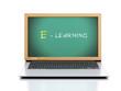 Laptop with chalkboard. E-laerning education concept. 3d illustr