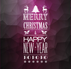 Abstract Christmas  light background with retro typography