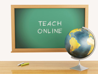 3d illustration. School education concept. Blackboard with onlin