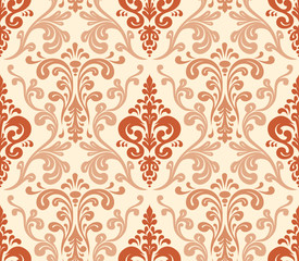 Vector. Seamless elegant damask pattern. Warm colors.