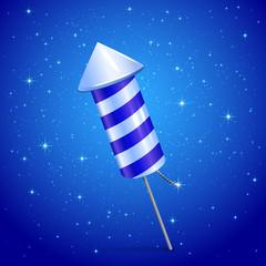 Fireworks rocket on blue background