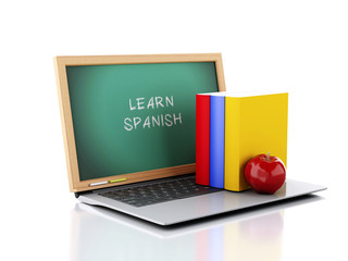 Laptop with chalkboard with learn spanish text. 3d illustration
