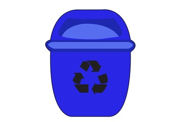blue Recycle Bin for Trash on White Background