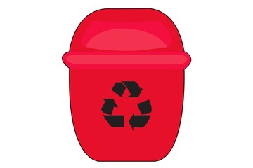 Red Recycle Bin for Trash  on White Background
