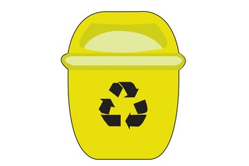 Yellow Recycle Bin for Trash Isolated on White Background