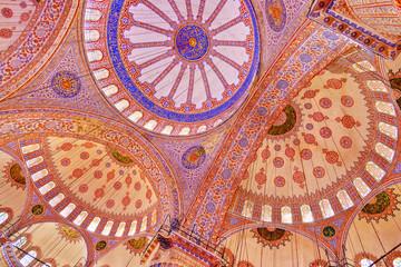 Blue mosque interior in Istanbul Turkey